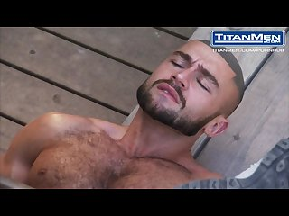 Francois sagat gives a sloppy blowjob in the woods
