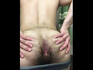 Str8 guy spreads ass cheeks
