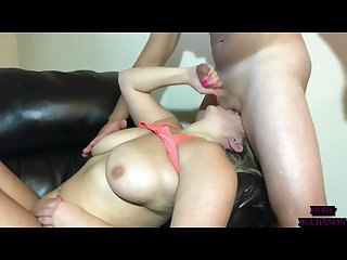 Gigantic titty chick deep throat pussy fuck by personal trainer part 2