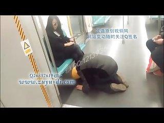 Chinese femdom public subway dog