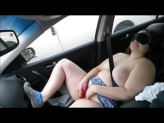 Part 2 guy watches my cute wife cum while blindfolded in the car