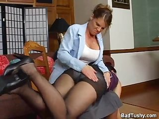 Bad girl spanked in stockings