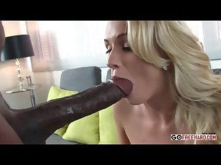 Busty shaven blonde craves thick black dick