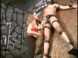 Aie S ruthless ball slapping of tied up black slave femdom