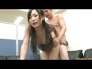 Office lady in skirt giving blowjob getting her shaved pussy fucked cum to