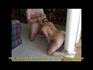 Milf backs onto dildo while sucking cock like a whore