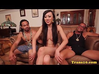 Gorgeous ladyboy spitroasted by black dudes