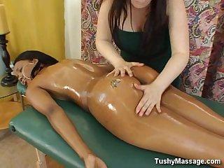 Tight ebony lesbian massage