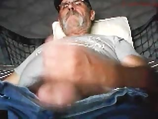 Old guy unloading his hairy cock