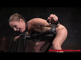 Bondage submissive spitroasted by maledoms
