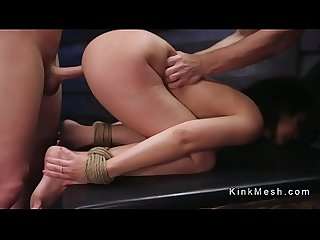 Busty brunette slave gets fuck training