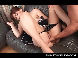 Stunning jap beauty peachy cunt fucked with four fingers