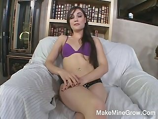 Hot brunette Sasha sucked cock and got a facial