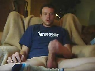 Matt jerking his big uncut cock