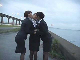 3 Japanese Lesbian Airline Stewardess Girls Kissing!