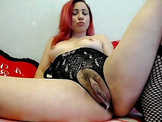 Redhead with monster pussy clit squirting orgasms toys
