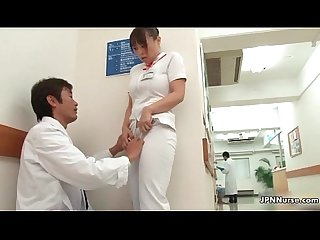 Horny Japanese nurse gets seduced in the