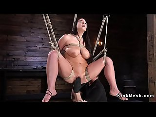 Monster tits slave gets caned in bondage