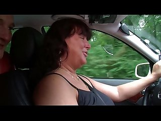 German taxi milf helps client with fuck