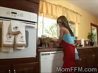 Gorgeous mommy teaches her horny stepson how to treat his gf