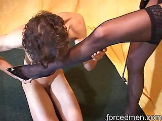 Naked slave worships mistress' pantyhosed legs