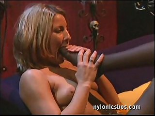 Nylon milf lesbians enjoy kinky mature sex and foot fetish