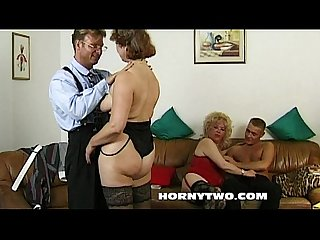Old n young threesome with two grannies fucking young lad hard till cumshot