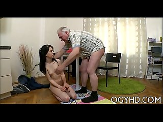 Cute youthful gal fucked by old boy