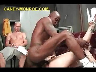 Stuffing blonde with black cock