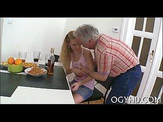 Old guy inserts cock in juvenile gap