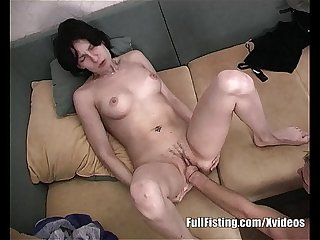 Slender Girlfriend taking boyfriend s fist into her pussy