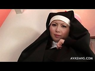 Asian nun gets her hairy pussy fingered and licked