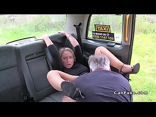 Hairy pussy blonde gets big cock in fake taxi