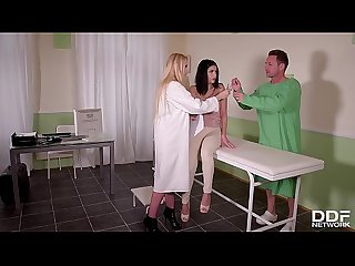 Shy patient Annie Wolf's ass & pussy hardcore examined by nurse Angel Wicky