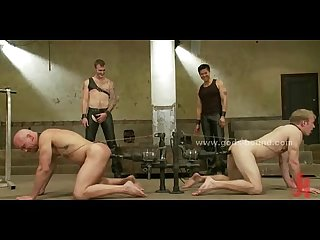 Pair of gay men bound in contest who fucks who first in total bondage anal Sex