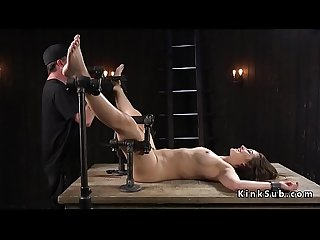 Slave in device bondage cunt vibed