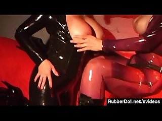 RubberDoll StrapOn Bangs Jewell Marceau In Latex Catsuits!