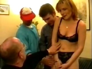 Blonde Milf gangbanged in stockings