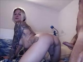 Hard Anal Sex With A Blonde Inked Tranny