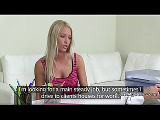 Blonde amateur lesbian licking female agent pov