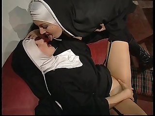 Forbidden sex in the convent between lesbian nuns and dirty monks