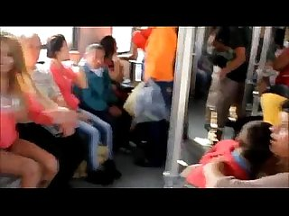 Mujer se desnuda en el Metro de Monterrey/naked woman on the subway Monterrey MX