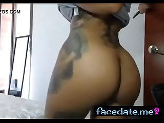 Awesome ebony showing her big boobs and big ass on cam