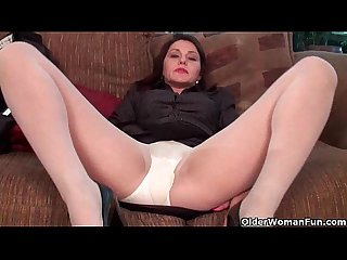 Business milf in pantyhose works hairy pussy