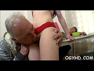 Kinky juvenile beauty enjoys old boner