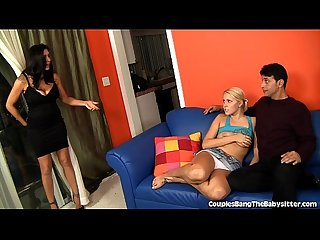 Husband and wife seduce babysitter into threesome