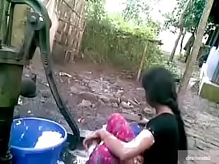 Desi village Girl outdoor bath