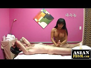 Asian masseuse rides hard rod