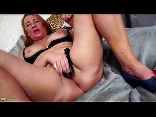 Shaved european granny toying herself