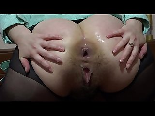 Hard anal masturbation with a big dildo, gaping hole in a juicy ass.
